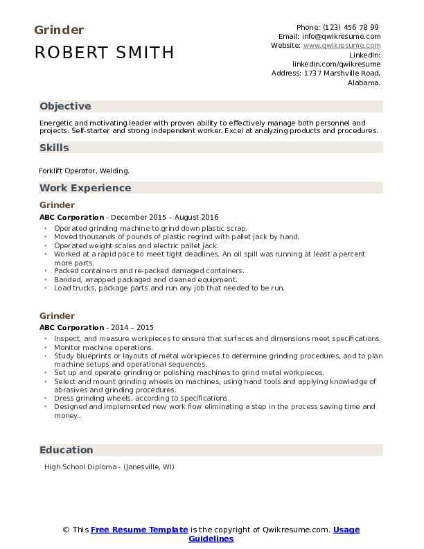 Grinder Resume example