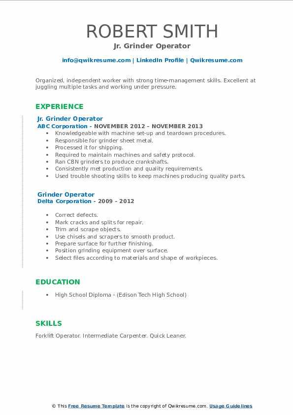 grinder operator resume samples