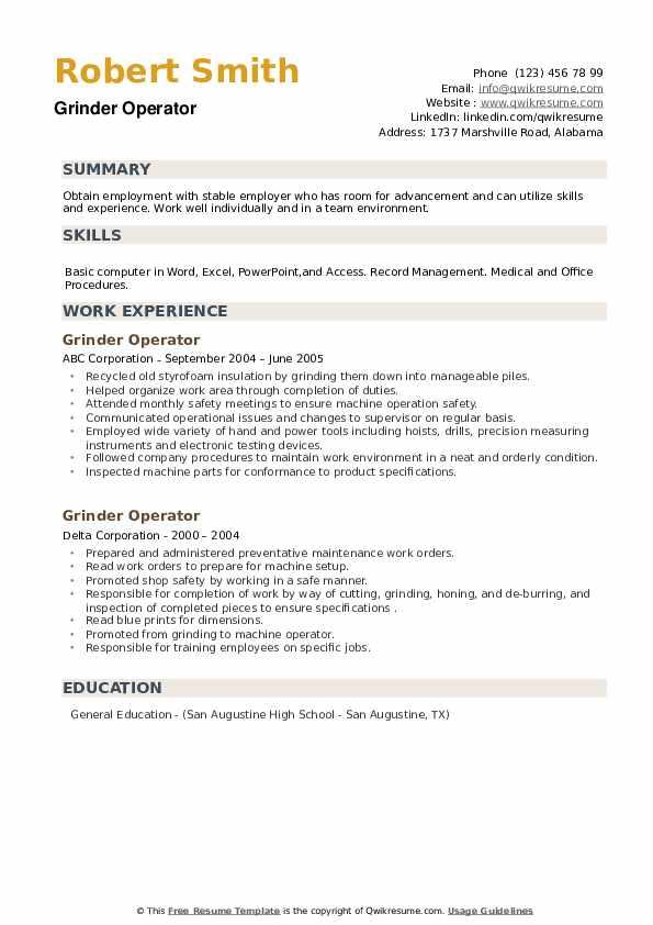 Grinder Operator Resume example
