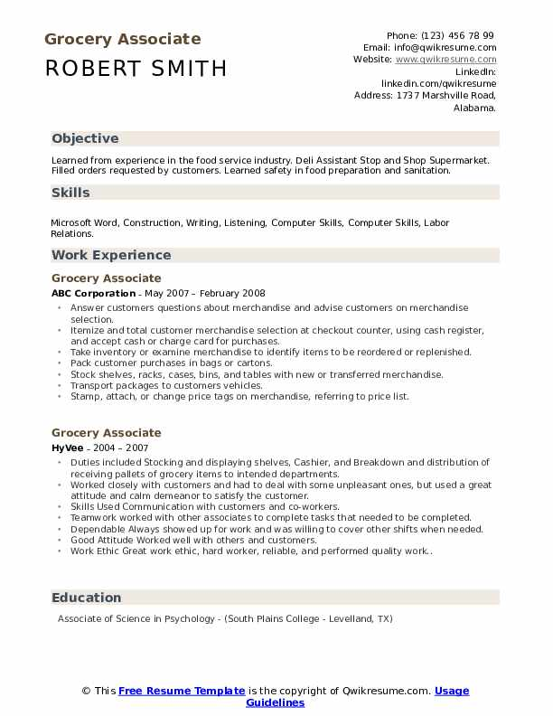 Grocery Associate Resume example
