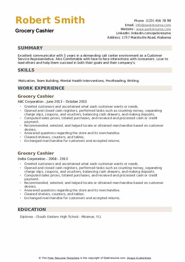 Grocery Cashier Resume example
