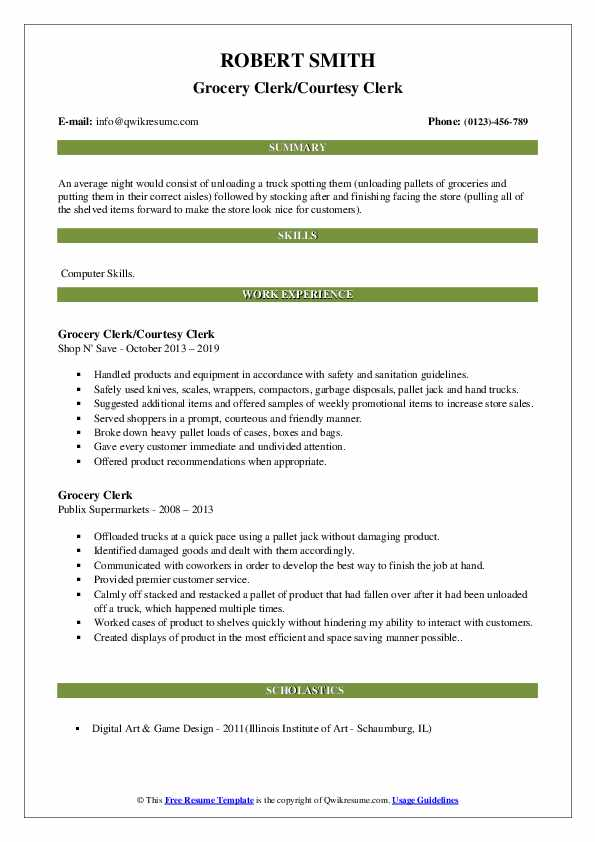 Grocery Clerk/Courtesy Clerk Resume Template