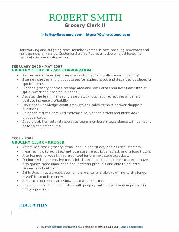 Grocery Clerk III Resume Model