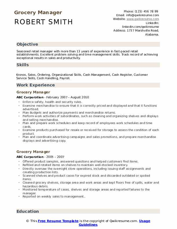 Grocery Manager Resume Format