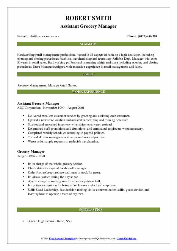 Assistant Grocery Manager Resume Model