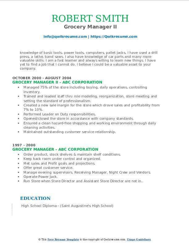 Grocery Manager II Resume Template