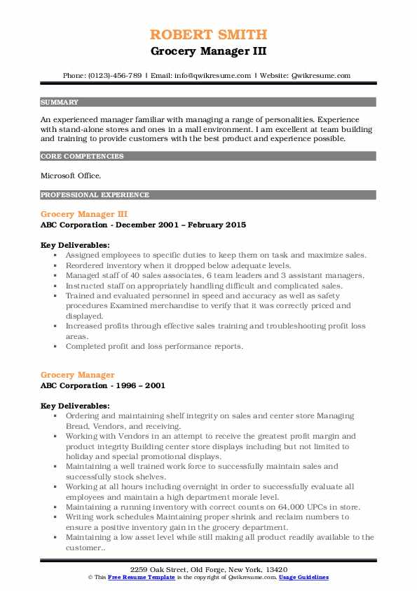 Grocery Manager III Resume Format