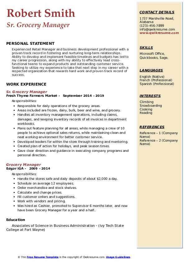 Grocery Manager Resume Samples