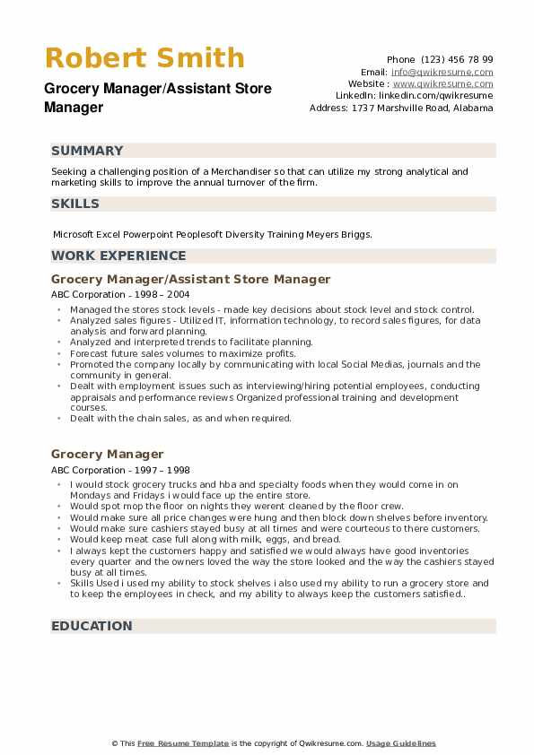 Grocery Manager/Assistant Store Manager Resume Format