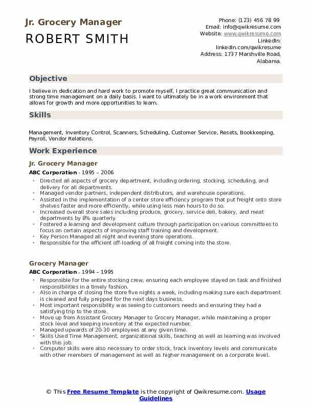 Jr. Grocery Manager Resume Format