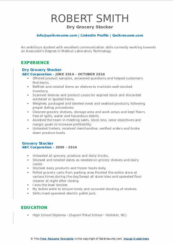 Dry Grocery Stocker Resume Format