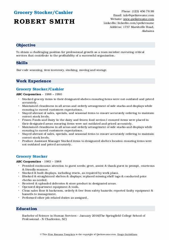 Grocery Stocker/Cashier  Resume Template