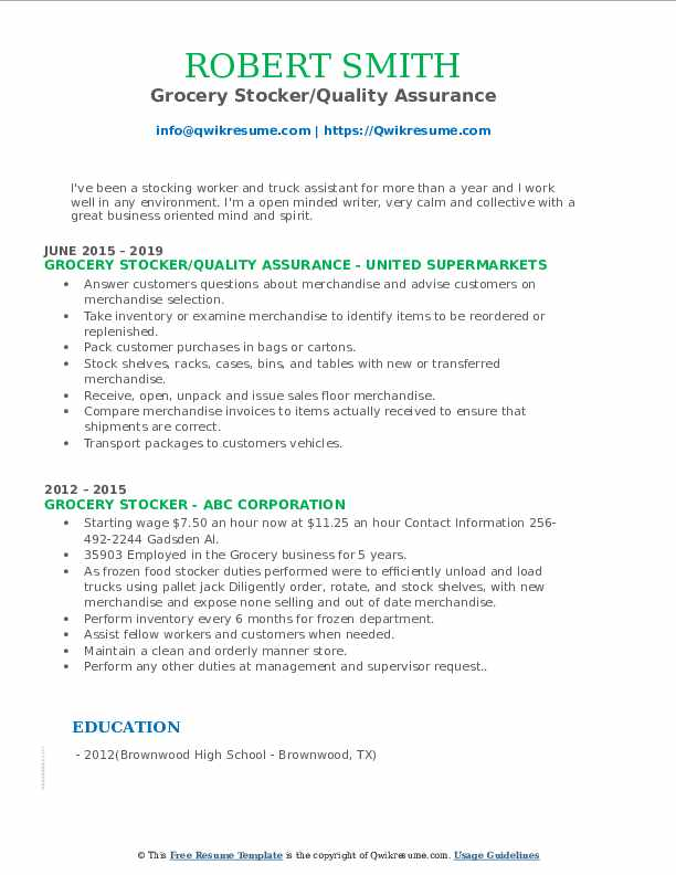 Grocery Stocker/Quality Assurance Resume Template