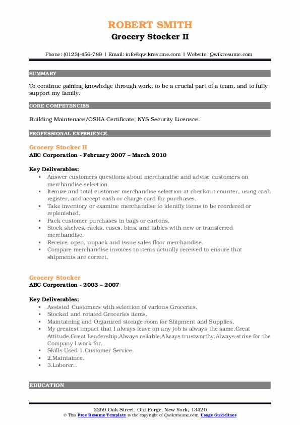 Grocery Stocker II Resume Model