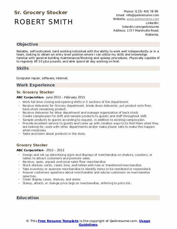 Sr. Grocery Stocker Resume Format