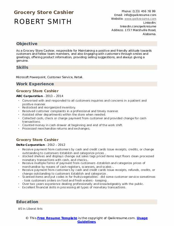 grocery store cashier resume