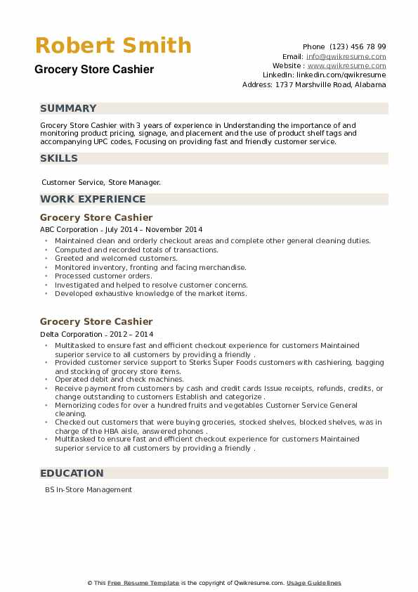 Grocery Store Cashier Resume example