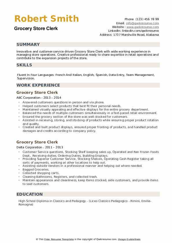 Grocery Store Clerk Resume example