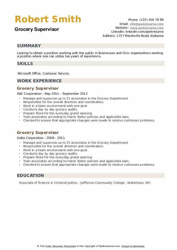 Grocery Supervisor Resume example
