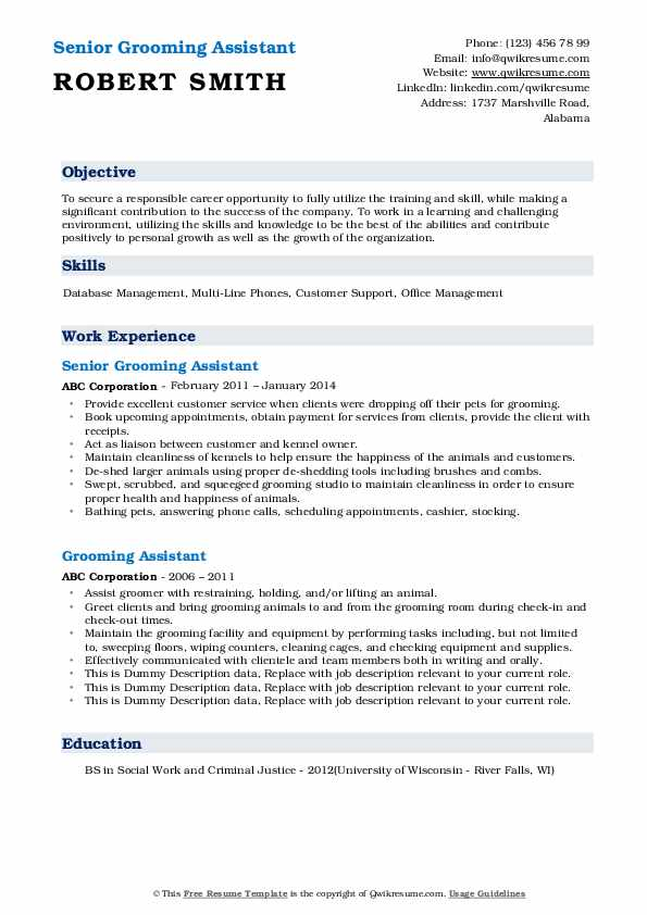 Grooming Assistant Resume Samples Qwikresume