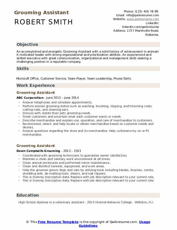 Grooming Assistant Resume example