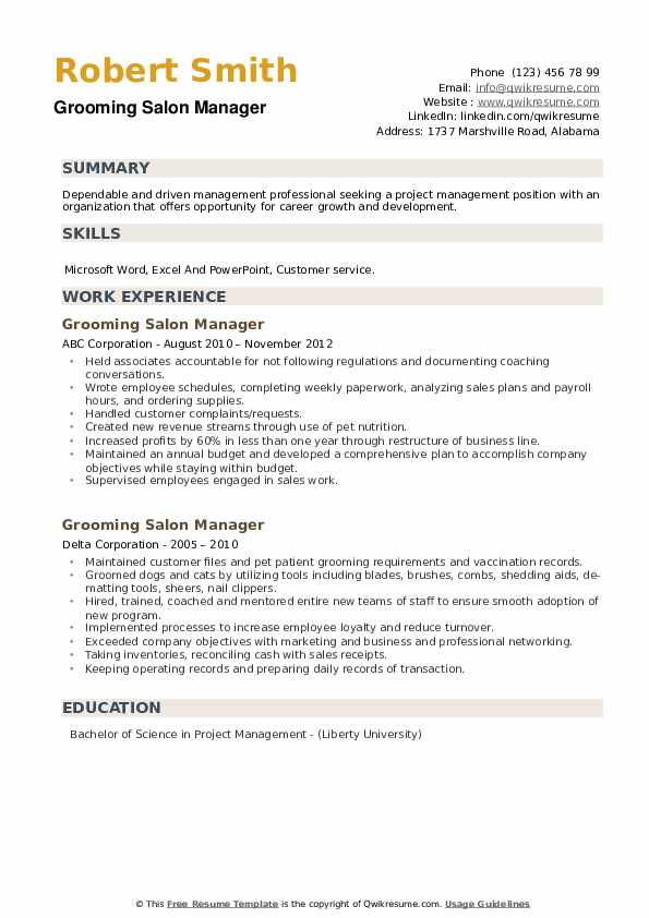 Grooming Salon Manager Resume example