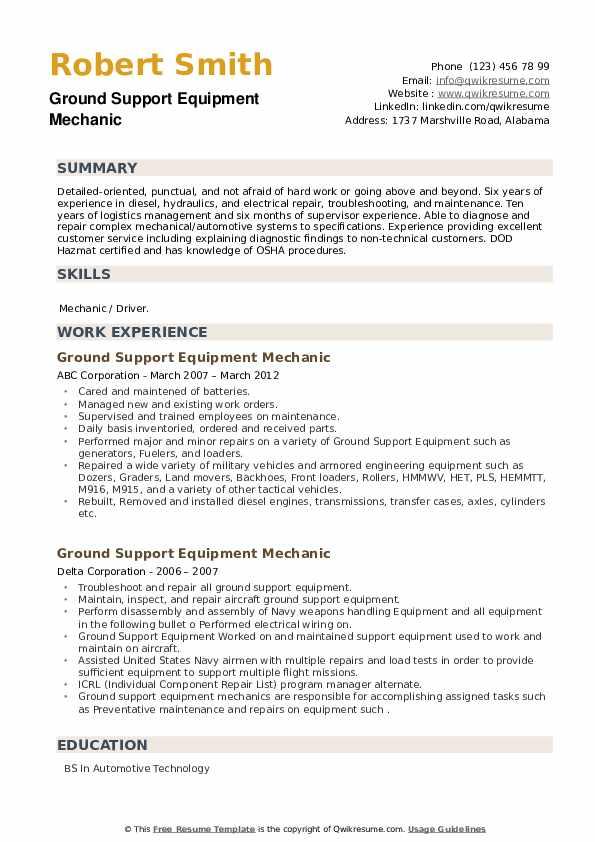 Ground Support Equipment Mechanic Resume example