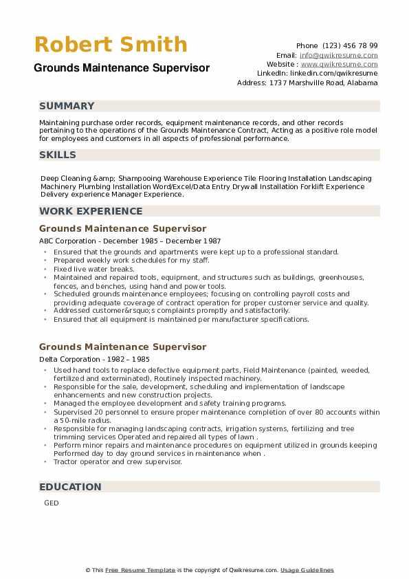 Grounds Maintenance Supervisor Resume example