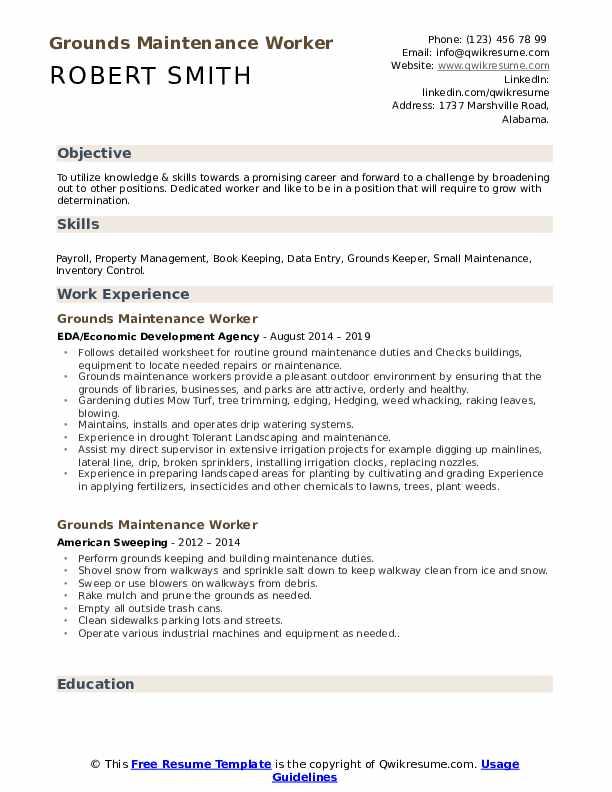 Grounds maintenance worker sample resume top descriptive essay editing service ca