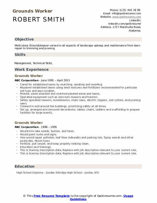 Grounds Worker Resume example