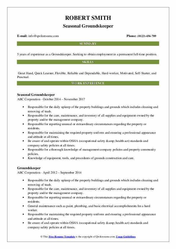 Seasonal Groundskeeper Resume Model