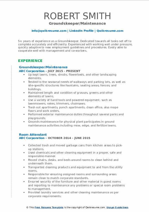 Groundskeeper/Maintenance Resume Template
