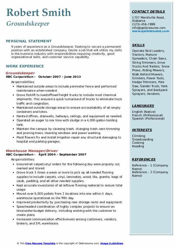 Groundskeeper Resume Template