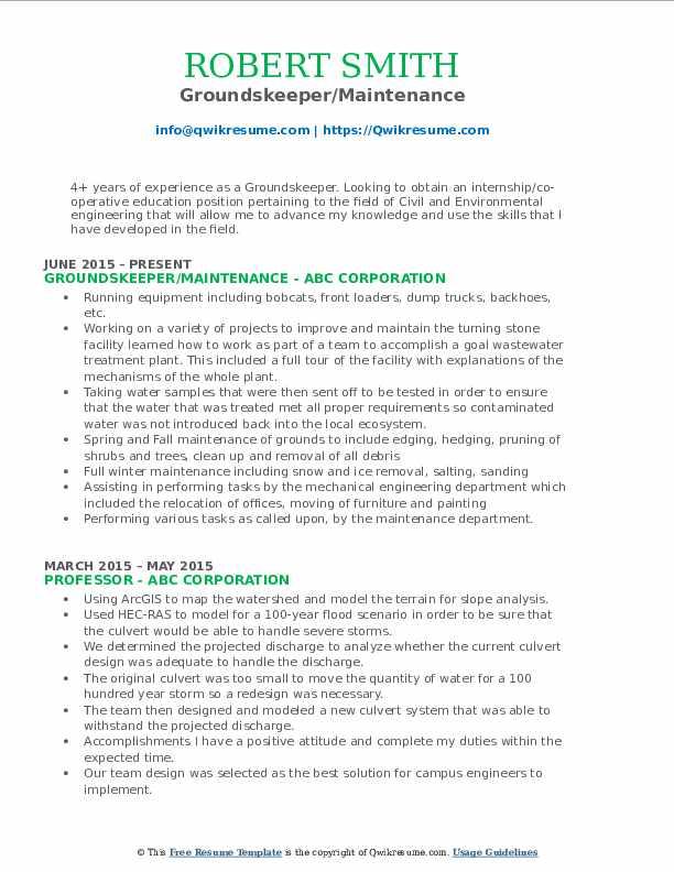 Groundskeeper/Maintenance Resume Format