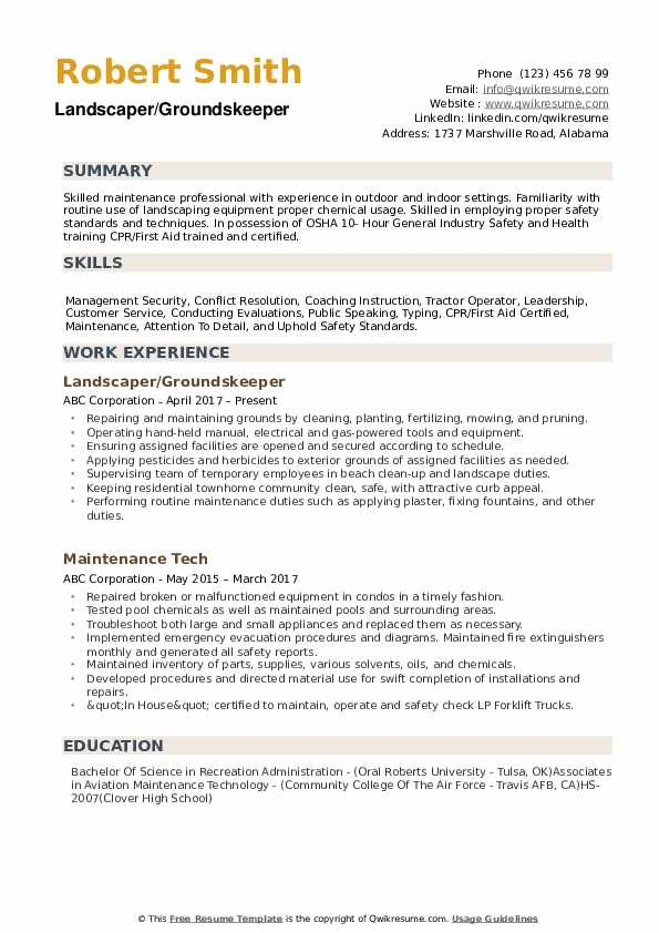 Groundskeeper Resume example
