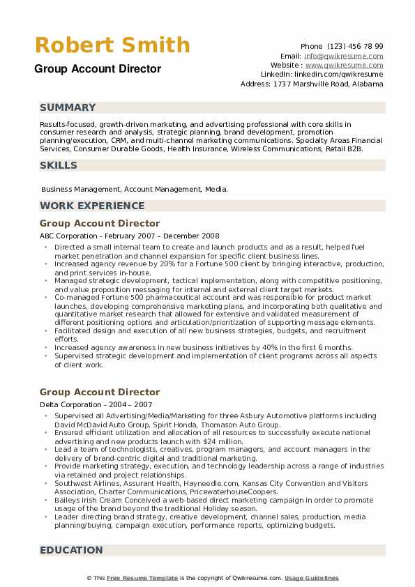 Group Account Director Resume example