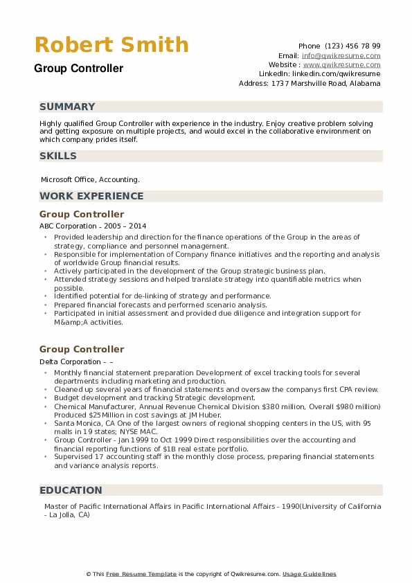 Group Controller Resume example