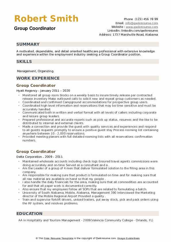 Group Coordinator Resume example