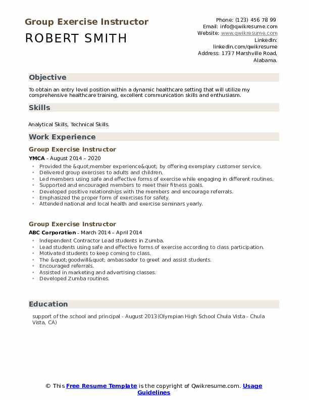 Group Exercise Instructor Resume example
