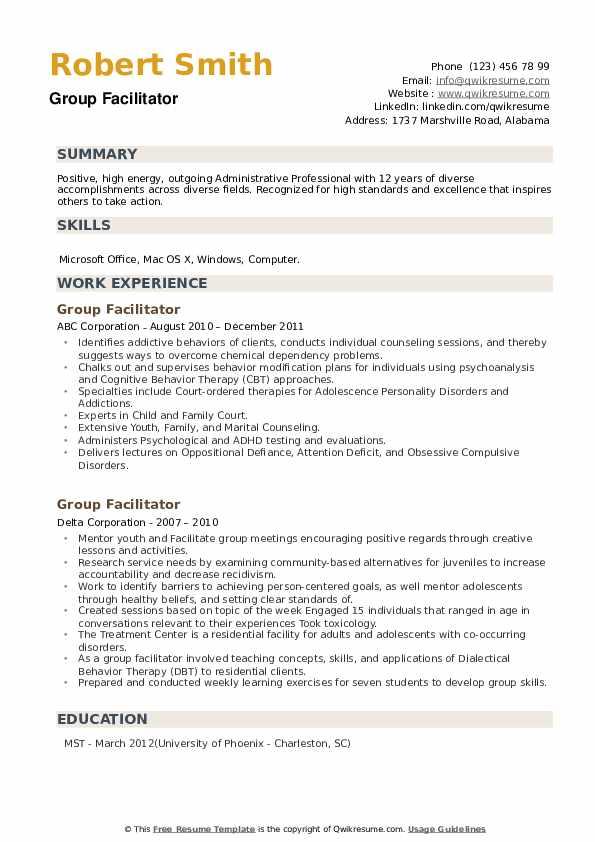 Group Facilitator Resume example