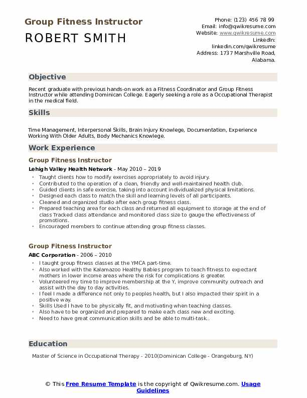 Group Fitness Instructor Resume Format