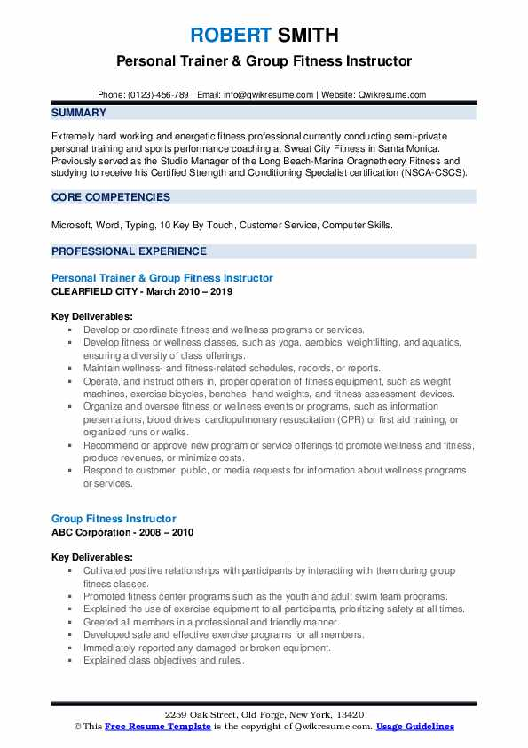 group fitness instructor resume samples