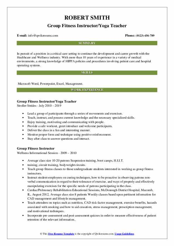 Group Fitness Instructor/Yoga Teacher Resume Example