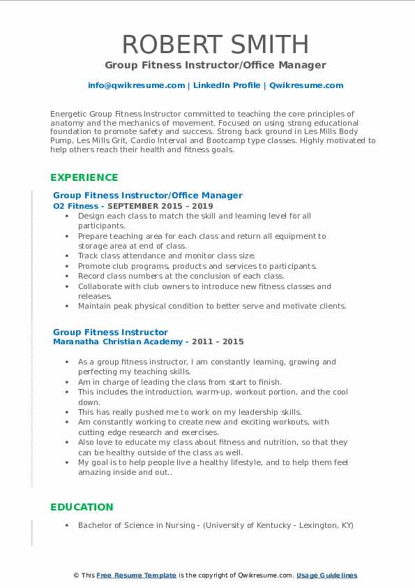Group Fitness Instructor/Office Manager Resume Format