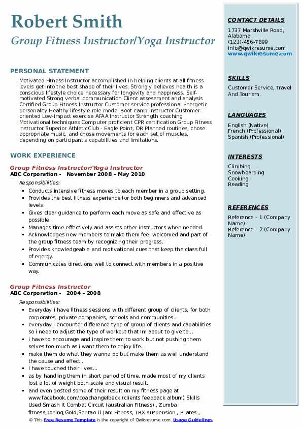 Group Fitness Instructor/Yoga Instructor Resume Example