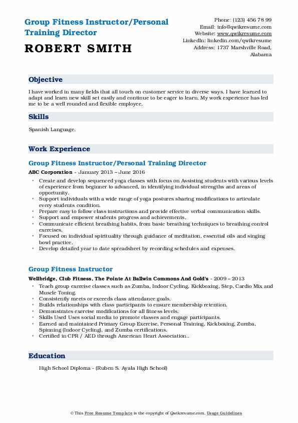 Group Fitness Instructor/Personal Training Director Resume Format
