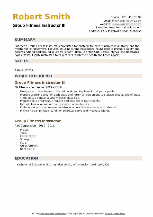 Group Fitness Instructor III Resume Format