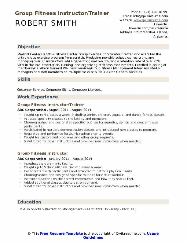 Group Fitness Instructor/Trainer Resume Format