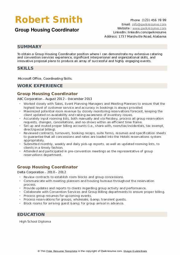 Group Housing Coordinator Resume example