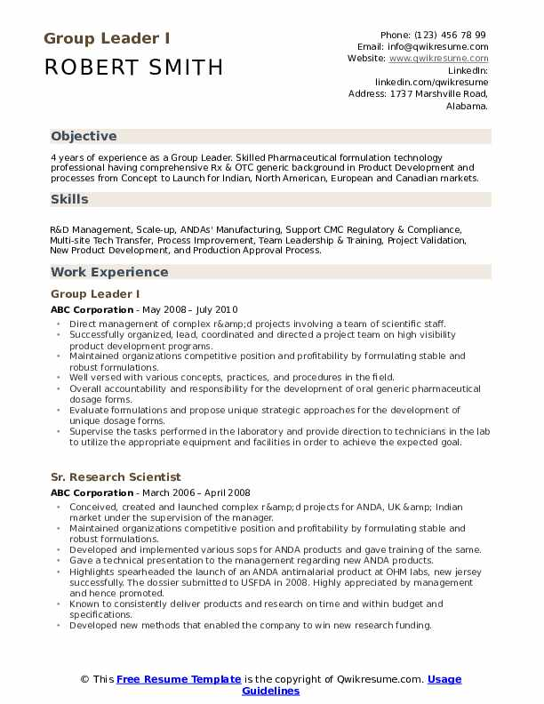 Group Leader I Resume Template